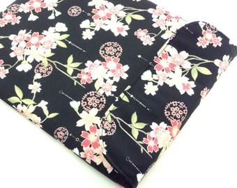 SALE LAST ONE Kimono iPad 3 Cover, Handmade iPad Sleeve, Gift Idea Under 25, Cotton Fabric Cherry Blossoms Black