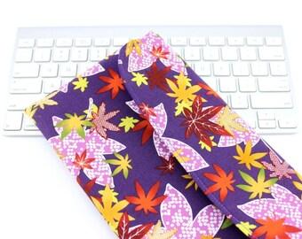 Maple leaf pattern fabric Apple Wireless Keyboard Cover Kimono Padded gadget case Flap Closure purple