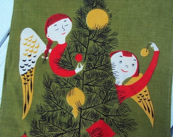 Vtg. Tammis Keefe MCM Tea Towel Christmas Angels