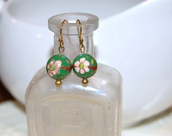 Vintage Green Cloisonne Earrings - Gold Plated