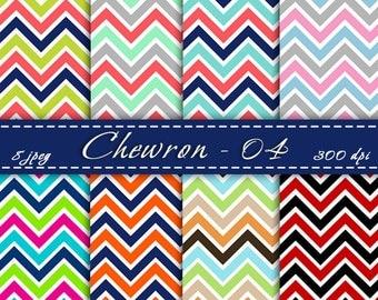 INSTANT DOWNLOAD - Multicolored Chevron, Zig zag digital paper,  Chevron scrapbooking paper, Printable, Background