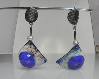 big copper silver earrings with hot enamel color, blue, white, summer jewelry