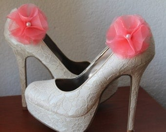 Coral Organza and White Pearl Flower Shoe Clips - 1 Pair
