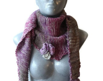 Knitted Scarf Triangle Shape Bactus Pink Shades With Flowers Extra Soft Warm Mohair