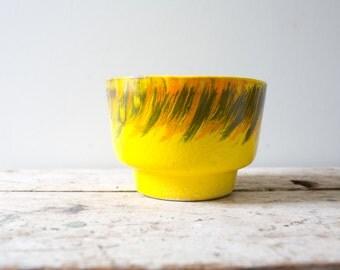 Vintage Ceramic Bowl - Yellow - Colorful Handmade Pottery Vintage Planter Pot Ceramic Pottery Handpainted Bohemian