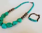 Turquoise Necklace - Turquoise Jewelry - Chunky Necklace - Chunky Turquoise Necklace -Turquoise Long Necklace - Long Necklace