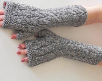 GRAY LONG Fingerless Gloves, Wool Mittens, Arm Warmers, Hand Knitted, Eco Friendly