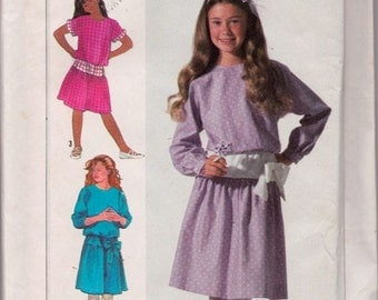 Simplicity 7242 Girls' Easy-To-Sew Dress Pattern, UNCUT, Size 7-8-10, Pullover Dress, Vintage, Retro, Flashback, Party Dress