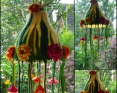 felted flower lamp, bedside lamp, lamp shade, handmade, wool, felt, fairy lamp, nursery, Waldorf inspired MADE TO ORDER