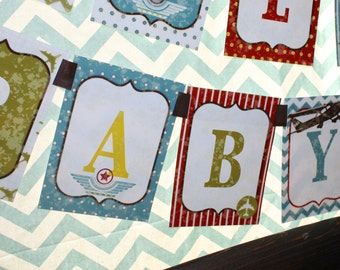 Airplane Vintage Aviator HAPPY BIRTHDAY Party Banner- Printed and Shipped CLEARANCE