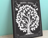 Guest Book Tree Canvas - Chalkboard style - Chalkwik tree -Peachwik Interactive Wedding Canvas - 100 guests - Wedding Gallery Wrapped Canvas