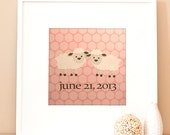 Modern Children's Paper Art - Personalized Baby Lambs - 12 x 12 - Pink and Grey or Custom Color