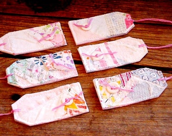 Patchwork Fabric Tags, Gift Tags, Prim Feedsack Cutter Quilt Wedding Everyday All Occasion Hang Tags itsyourcountry
