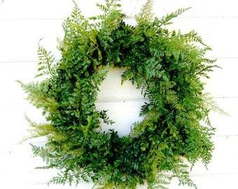 FERN Wreath-Spring Wreath-Wedding Decor-Door Wreath-Garden Wedding-Year Round Wreath-Home Decor-Outdoor Wreath-Scented Wreaths- Made USA