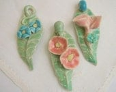 Summer Leaf and Flower Porcelain Pendants in Pastels