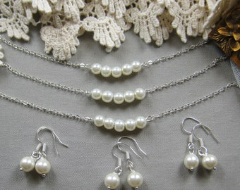 SET of 6 Simple chic pearl necklace and earring SET, bridesmaids necklace, wedding jewelry - W041 (Choose your pearl colour)
