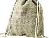 Alternative Eco-friendly Jute Cinch Backpack with Rabbit Logo