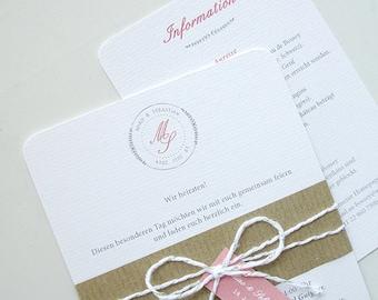 Vintage Chic Garden Floral Wedding Invitation Bespoke Design Bride Groom Logo Brown Paper wrap Band with Tag (Qty 20)