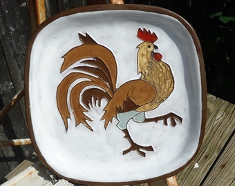 Handmade Decorative Clay Rooster Plate From Belgium