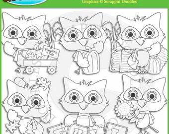 Little Fall Owl Line Art
