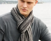 Mens Knit Wool Scarf - Mens Striped College Scarf - Teens Handmade Winter Wrap Fashion Warm & Nice Hand Gray Black White (Ready to Ship)