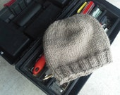 Alpaca Men's Hat - Hand Knit Beige Slouchy Wool Winter Hat for all your Dudes Outdoor Activities (One Size - Ready to Ship)