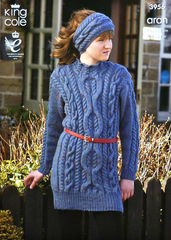 Knitting Pattern Cable Dress : Girls Knitting Pattern K3956 Childrens/Ladies Long Sleeve