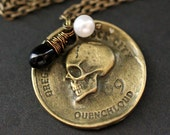 Pirate's Coin Necklace. Goth Necklace. Bronze Skull Necklace with Black Teardrop and Fresh Water Pearl. Halloween Jewelry. Handmade Jewelry.