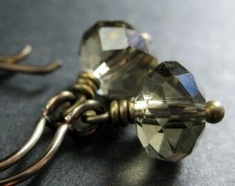 Brown Crystal Earrings. Brown Earrings. Crystal Dangle Earrings in Dusky Brown. Bronze Earrings. Handmade Jewelry.