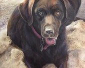 "Personalized Your Dog Portrait, 16""x20"" original oil painting, pet portrait commission, realistic painting from photo"