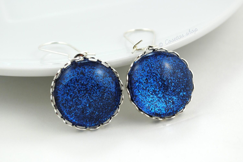blue glitter earrings glitter glass dome earrings by