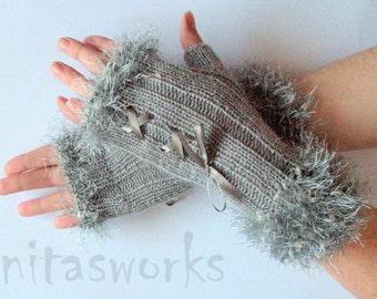 Fingerless Gloves Light Gray Corset Arm Warmers Mittens 9 inch Knit, Wool Acrylic