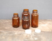 Vintage Glass Bottles Brown Assorted