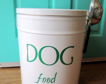 Pet Food Storage Tin Green Lettering