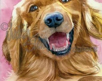 """Golden Retriever, AKC Sporting Gun Dog, Service Dog, Pet Portrait Dog Art Watercolor Painting Print, Wall Art, Home Decor, """"Golden Moment"""""""