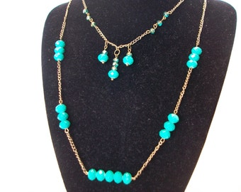 Layered Necklace, Green Necklace, Spring Jewelry, Summer Jewelry, Double Chain Necklace
