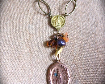 Vintage VIRGIN MARY French Rosary Ensemble Necklace- OOAK and Lovely