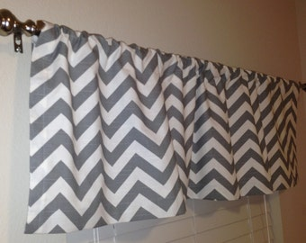 Ash Grey and White Slub Chevron Zig Zag Curtain Valance