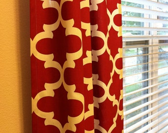 Red Lattice Quatrefoil Fynn Curtains  Rod Pocket  63 72 84 90 96 108 or 120 Long by 24 or 50 Wide