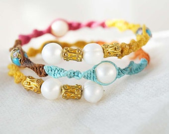 Ethnic Glamor Bangle, Multicolor Pearl, Gold Wrap Bracelet, Anklet, Arm Band, Boho Body Jewelry