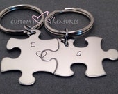 Couples Keychains with personalized Initials, Valentines Gift, Personalized Keychain, Puzzle keychains,Bridesmaid Gift, Best Friend Keychain