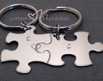 Couples Keychains with personalized Initials, Personalized Keychain, Puzzle keychains,Bridesmaid Gift, Best Friend Keychain