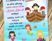 Pirate Mermaid Birthday Invitation Print Your Own