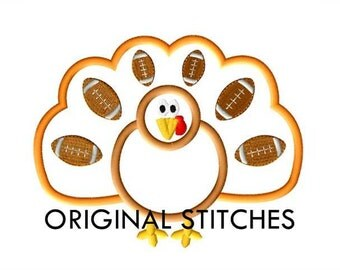Football Turkey Applique and Machine Embroidery Digital Design File  4x4 5x7 6x10