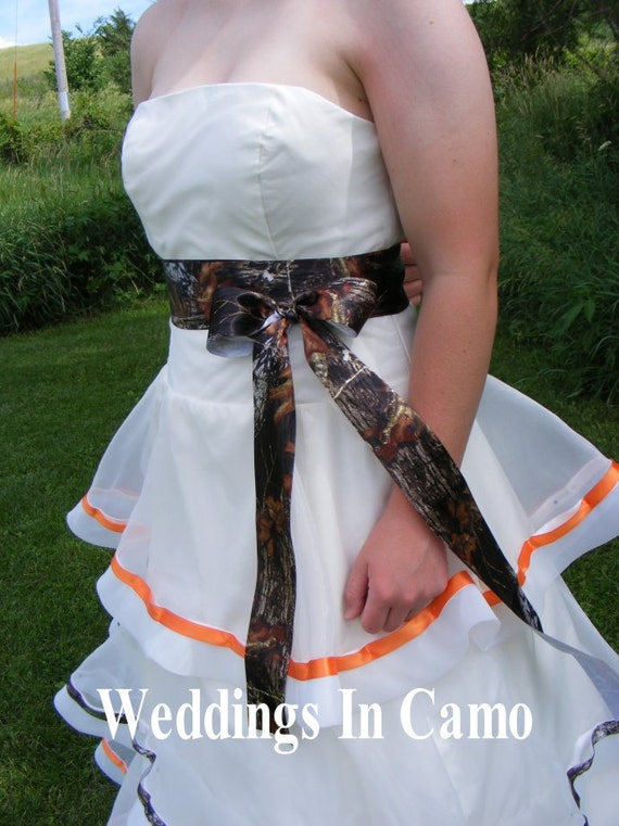 camo ribbon sash add to wedding dress mossy oak ribbon