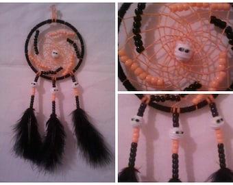 4 Inch Mummy Halloween Dream Catcher - Handmade - Black and Orange
