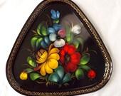 Triangular Russian tole tray, folk art from Zhostovo, hand painted, marked USSR