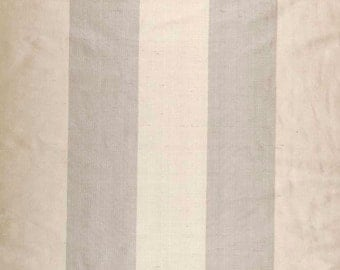 """Two 96"""" x 50""""  Custom  LINED Curtain Panels -  100%  Silk - 3.5"""" Wide Stripes - Beige and Taupe"""