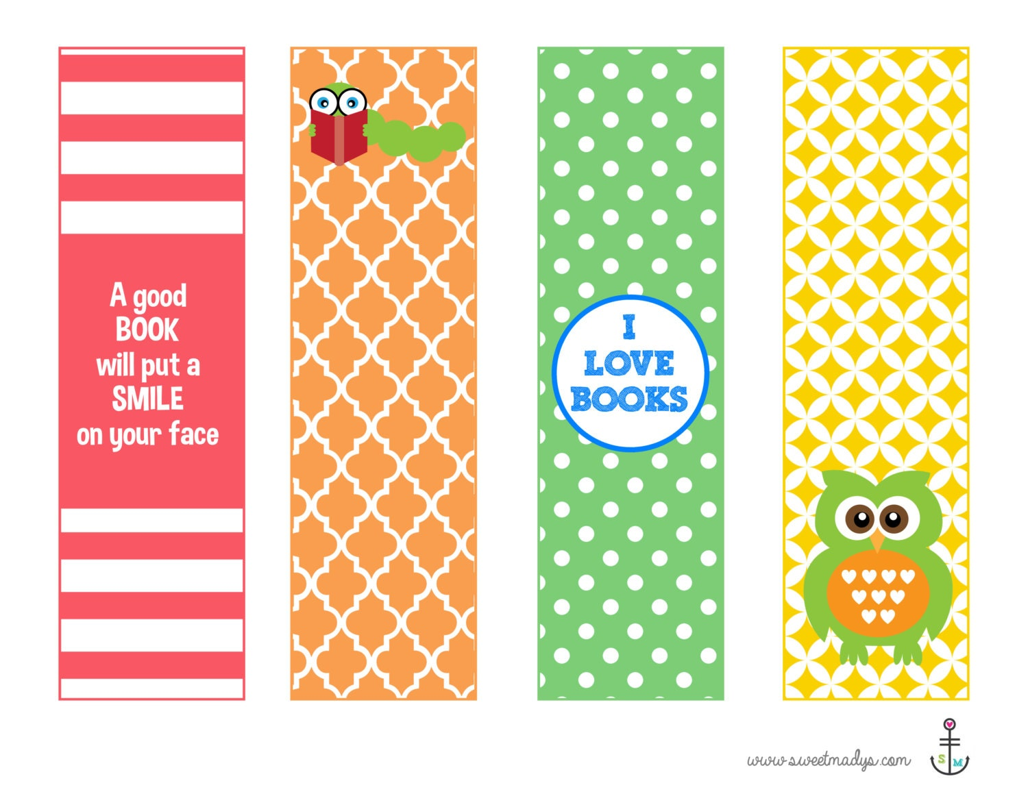 Printable Bookmarks by SweetMadyStudio on Etsy