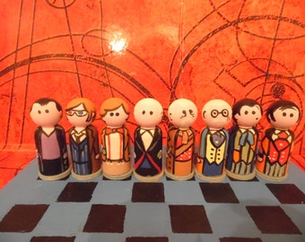 DOCTOR WHO  handmade peg people chess set 12 doctors plus extra characters, daleks and board